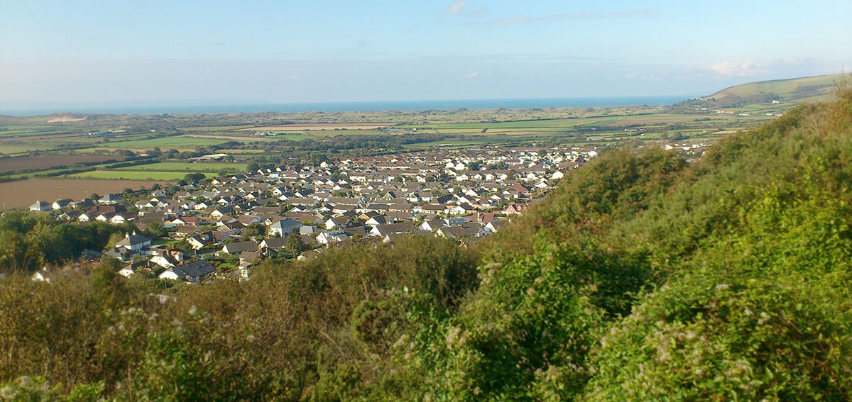 view of Braunton from Braunton Beacon Hill